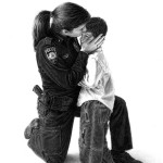 Officier de police et son fils : dessin