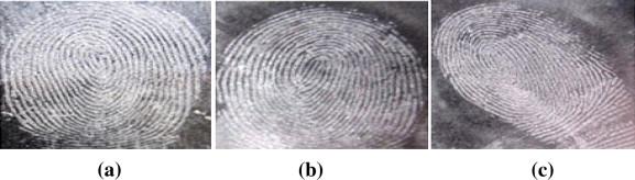 Résultats comparatifs de visualisation d'empreintes latentes sur une feuille transparente pour vidéoprojecteur avec a) silica gel b) poudre blanche c) poudre grise claire