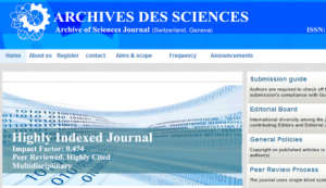 Archives of Sciences : Vrai site, Faux journal