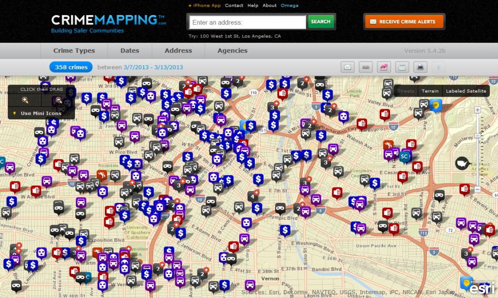 Carte des Crimes et Délits de Los Angeles en temps réel à un instant « t »