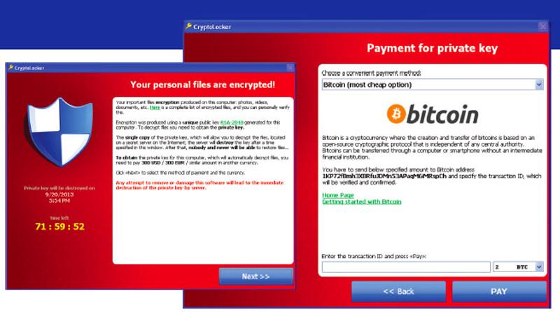 Captur d'écran de Cryptolocker
