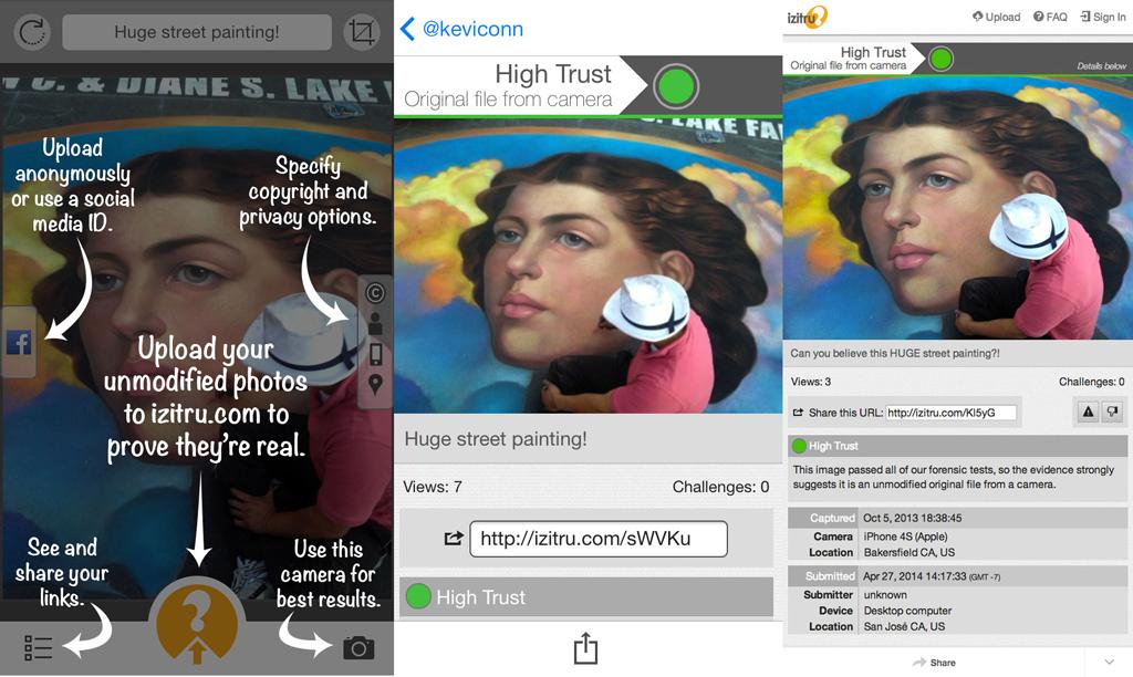 Capture d'écran du logiciel Izitru