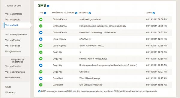 Capture d'écran des sms sous mSpy