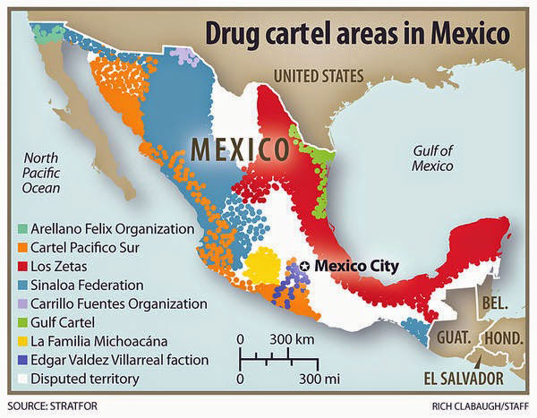 Carte d'implantation des différents cartels mexicains